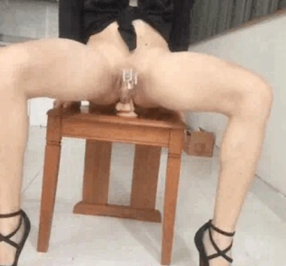 Chastised sissy slave riding like a bitch in heat