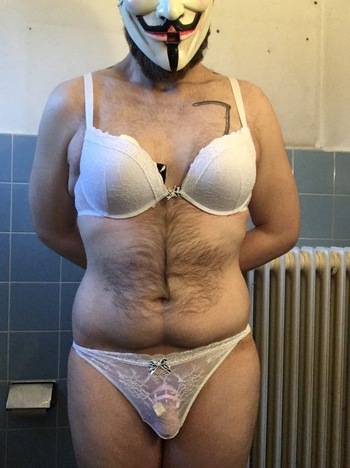 Sissy wearing a bra and a thong!