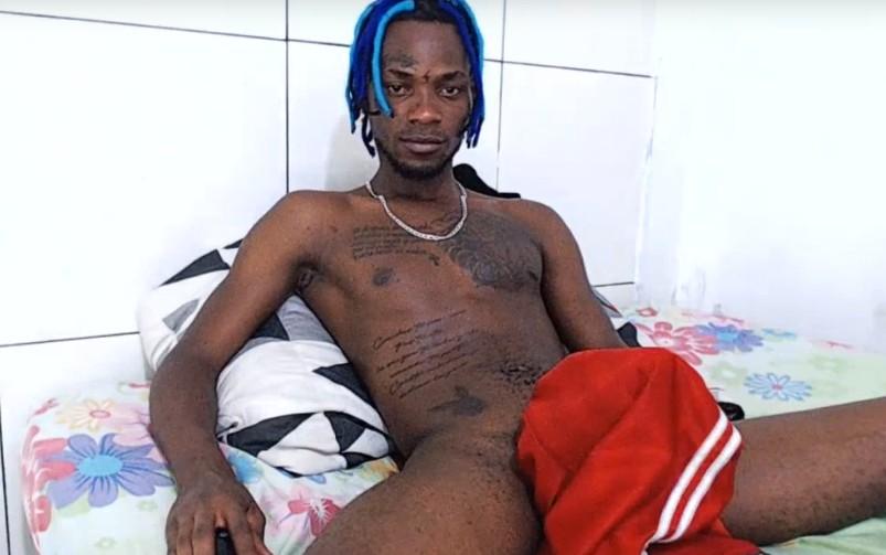 Black master makes sissy beg for cum on cam